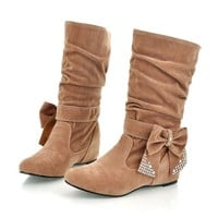 TEXU Half Knee women Boots autumn Faux Suede   Fashion Boots High increasing Woman Shoes