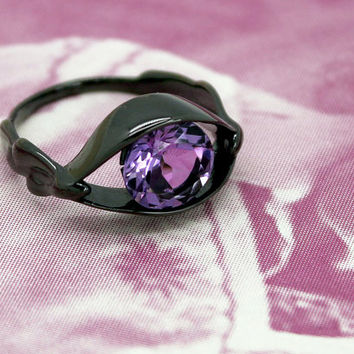 Salvador Dali Eye Ring, Silver Ring, 3D printed in Sterling Silver with Amethyst, Gifts for Her, free shipping