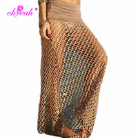 Mesh Hollow Lace Crochet Bikini Cover Up with Slit