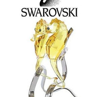 Swarovski Colored Crystal Figurine Pair Of Golden FO Seahorses #5103233 New