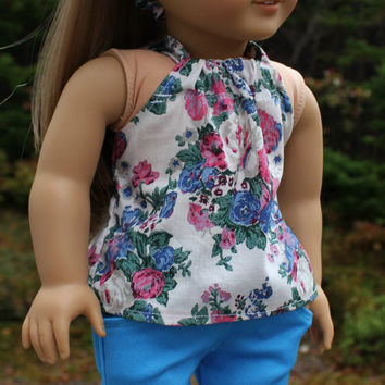 blue, pink, white, floral halter top, oversized bow headband and blue skinny pants, 18 inch doll clothes american girl maplelea