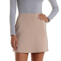 Taupe A-Line Scuba Knit Skirt by Charlotte Russe