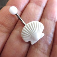 White Seashell Belly Button Navel Ring Piercing