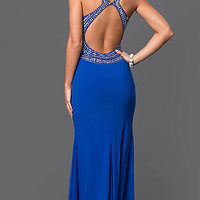 Blue Open Back Long Prom Dress by Blondie Nites