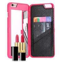 Slim Leather Dual Hard Back Makeup Mirror Phone Case For iPhone 6 Plus