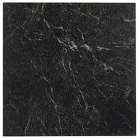 "Pack of 20 Elegant Home 12"" x 12"" Self Adhesive High Gloss (No Wax) Finish 1.2mm Thick Vinyl Tiles - Black with White Vein Marble"