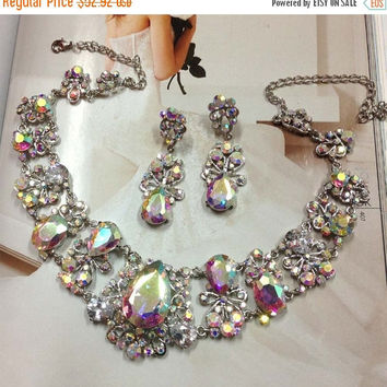 Wedding jewelry set, Bridal bib necklace and earrings, vintage inspired AB crystal pearl necklace statement, crystal jewelry set