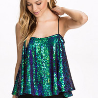 Glitter Sleeveless Skater Top