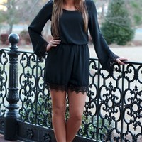 Crochet Lace Romper: Black
