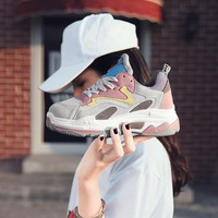 Women's Chunky Sneakers 2018 Fashion Women Platform Shoes Lace Up Pink Female Trainers Dad Shoes Bambas Plataforma Mujer
