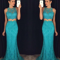 Mermaid Lace Prom Dress,Two Piece Prom Dresses,Evening Dresses