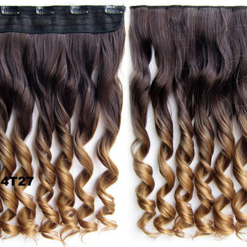 """Dip dye hairpieces New Fashion 24"""" Women Clip in on gradient wig Bath & Beauty Hair Ombre Hair Extensions Two Tone Curly Hair Gradient Hair Extension Colorful Hairpieces GS-888 4T27,1PCS"""