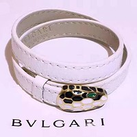 Bvlgari Fashion new leather bracelet women White