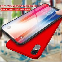 PLV 360 Protective Case For iPhone X 6 6S 7 8 5 5S SE Tempered Glass Front Back Cover Full Body Coverage Protection Shells