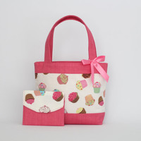 Mini Tote Bag & Purse / Girls Bag / Kids Bag / Wallet - Cupcakes