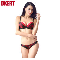 DKERT French brand ABC cup sexy push up bra set women's fashion lace underwear set intimate noble young girl bra brief sets