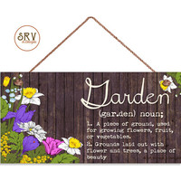 """Garden Sign, Flowers and Distressed Wood, Weatherproof, 5""""x10"""" Wall Plaque, Housewarming Gift, Meaning of Garden, Made To Order"""