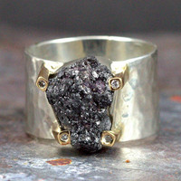 Final Payment for Benjamin - Custom Rough Diamond Ring with 14k Prongs with Diamonds