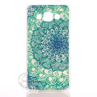Green Blue Mandala Flower Datura Floral Clear Hard Plastic Case Cover For Samsung Galaxy S3 S4 S5 Mini S6 S7 Edge Note 2 3 4 5 7