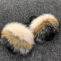 Grouch fox fur slides