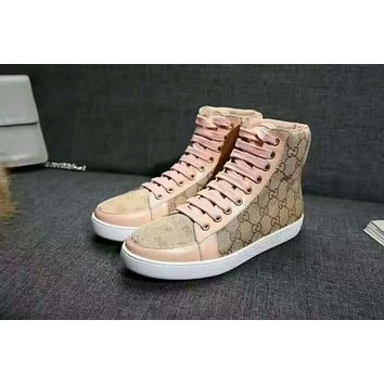 Gucci New Popular Woman Casual High Top Sport Shoes Sneakers Pink I-ALS-XZ