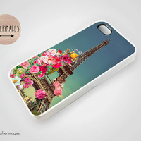 Vintage Floral Eiffel Tower iPhone 5 4 4S Case iPhone 4 Cute Paris France Spring Silicone