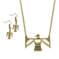 "antiqued gold phoenix necklace and earring set at Joji Boutique: 2"" wide antiqued golden bird outline. Matching 0.75"" drop earrings.  18"" with 2.5"" extender chain. Lobster clasp. #jewelry #joji #fashion #gifts"