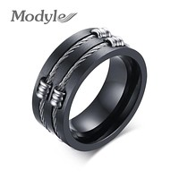 New Punk Rock Ring Fahsion Stainless Steel Party Cool Wire Rings For Men