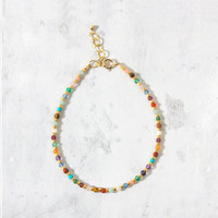 """""""Kitchen Sink"""" Bead Bracelet Necklace, Multi-Color with Gold 