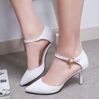 Woman Wedding Shoes White Buckle Strap Pumps Ladies bridal shoes High Heels Women Shoes Summer Dress Shoes zapatos mujer 3298