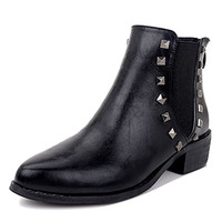 Black Stud Embellished Stretch Panel PU Ankle Boots