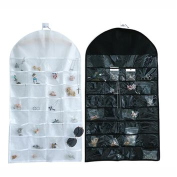 32 Pockets Earring Necklace Jewelry Hanging Organizer Jewelry Display Holder Dual Sided Jewellery Storage Display Pouch