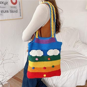 Rainbow Pride Crochet Canvas Messenger Bag Wool Knitting Tote Bags Shoulder Bag Handbag