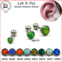 3pcs 316L Surgical Steel Ear Tragus Cartilage Barbells Piercing Stud Ring With Opal Stone 16g Body Jewelry Earring