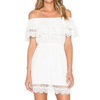 LIV Chelsea Tiered Lace Dress in White