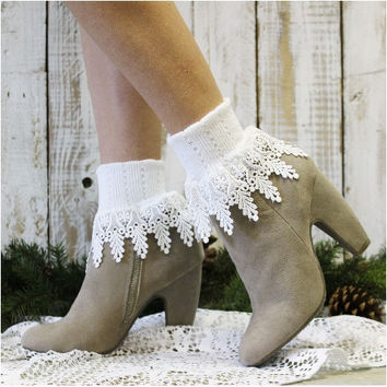SIGNATURE lace socks - white
