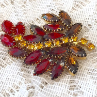 Stunning Vintage Red Brown and Citrine Rhinestone Brooch