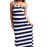 Navy Blue White Striped Strapless Maternity Maxi Dress