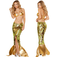 Woman Sexy Gold Two Pieces Shell Bra Bikini Mermaid Mistress Halloween Party Cosplay Costume Dresses Free Shipping