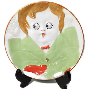 Antique Nippon Googly Eye Plate - Childs Dish - Hand Painted Collectible, Rising Sun Mark, 1920s vintage Noritake