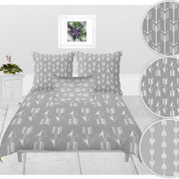 Custom Duvet Cover - 4 different sizes, Without Insert, Bedroom, Home decor, With or Without Shams, White, Custom, Color, Abstract, Arrow