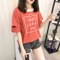 Not Today Printed Ulzzang Style T-shirt