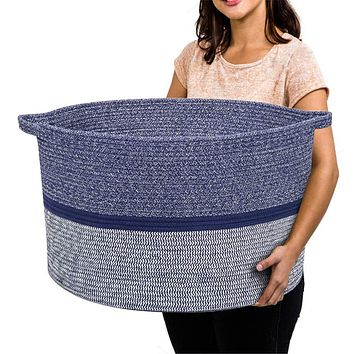 """RUNKA Extra Large Storage Basket 22"""" x 14"""", Soft Woven Large Basket with Handles,Extra Large Basket and Organizer for Laundry, Toys, Books and Baby Blankets"""