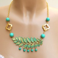 Turquoise and Gold Leaf Pendant Necklace