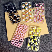 Luxury Soft TPU 3D Cute Cartoon Eyes Move Mouse Cat French fries banana Popcorn Phone Case For iphone 6 6s Plus Cover Back