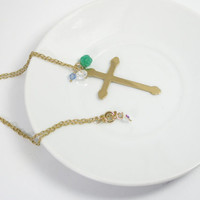 Cross necklace /religious jewelry gold plated cross with Swarovski crystals and resin flower