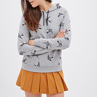 FOREVER 21 Bird Print Hoodie Heather Grey/Black