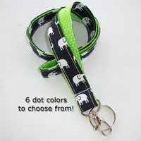 Lanyard  ID Badge Holder - Lobster clasp and key ring - design your own white elephants black - lime green pin dots - two toned double sided