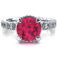 Grandeur Round Ruby 4 Prong Basket and Half Eternity Fire Ring