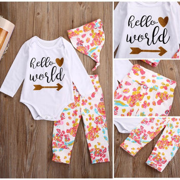 Newborn Baby Girls Clothes Set Top Romper Floral Pants Leggings Hat 3PCS Outfits Set Baby Girl Clothing